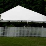 30'x30' Frame Tent Behind Fence