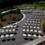 Samsonite Folding Chairs setup for a Wedding Ceremony with view from above