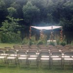 Samsonite Folding Chairs setup for a Jewish Wedding Ceremony