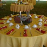 Buffet style table with Unique Centerpiece using old childrens toys set on table and rope napkin rings