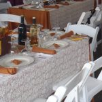 Elegant Victorian Railroad themed table setting with Diplomat china and white party chairs