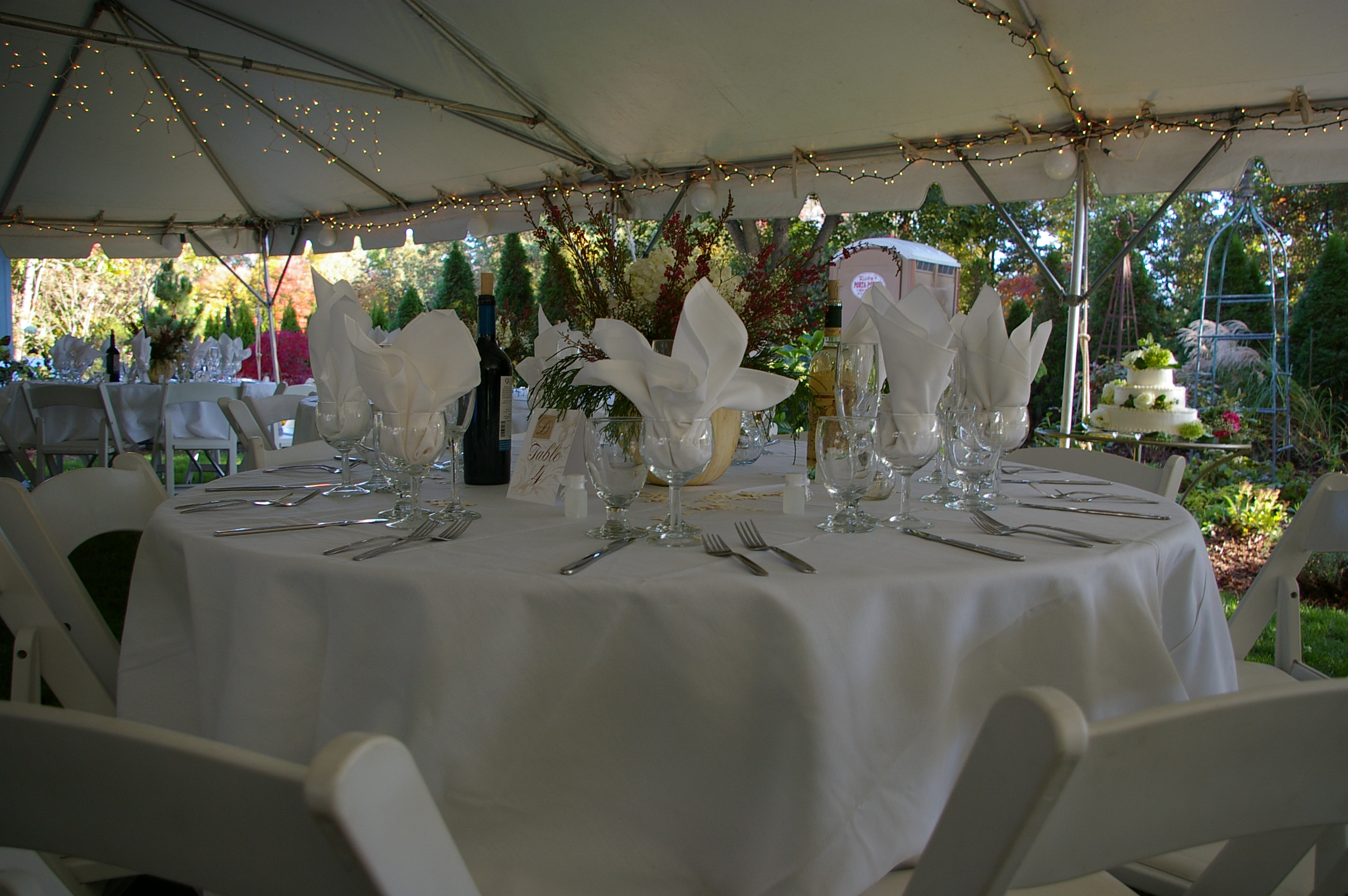 Simple Buffet Table Setting with Water Goblet Wine Glass and White Napkin set prior & Table Setting 7 - Taylor Rental of Torrington