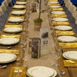 Farm Table with Runner and Gold Band China